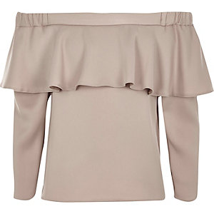 Girls light pink deep frill bardot top