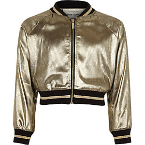 Girls metallic khaki cropped bomber jacket
