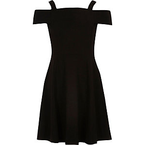 Girls black bardot skater dress