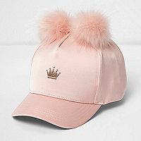 Girls pink pom pom crown cap