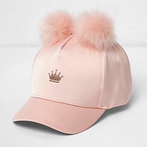 Girls pink pom pom crown cap