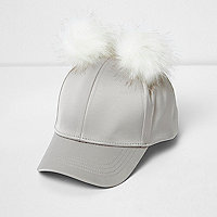 Girls grey satin pom pom cap