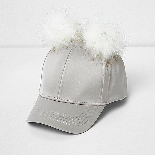 Girls grey satin pom pom cap