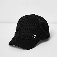 Mini girls black textured mesh cap