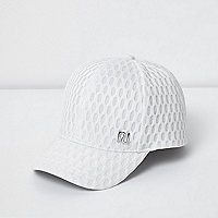 Mini girls white textured mesh cap