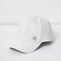 Mini girls white textured mesh cap