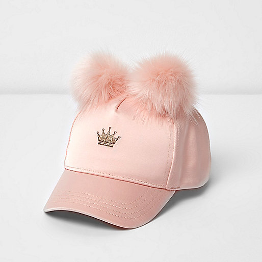 Mini girls pink pom pom crown cap