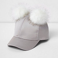 Mini girls grey satin pom pom cap