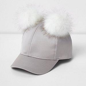 Mini girls grey satin pom pom cap