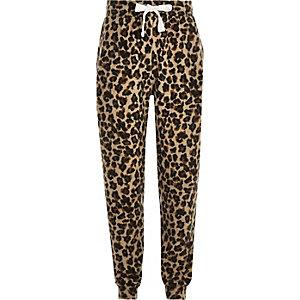 Girls brown leopard print joggers