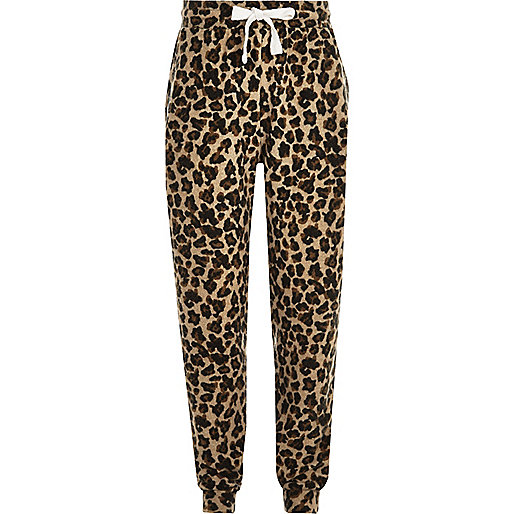 Girls brown leopard print joggers