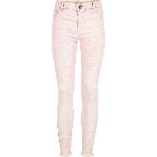 Girls pink acid wash Molly jeggings