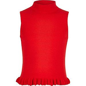 Girls red frill hem knit tank top