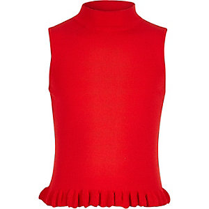 Girls red frill hem knit tank top