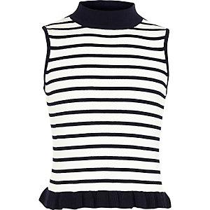 Girls stripe print frill turtleneck tank top