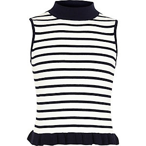 Girls stripe print frill turtleneck tank top