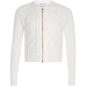 Girls cream lace front zip up cardigan