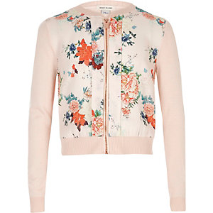 Girls pink floral print zip up cardigan