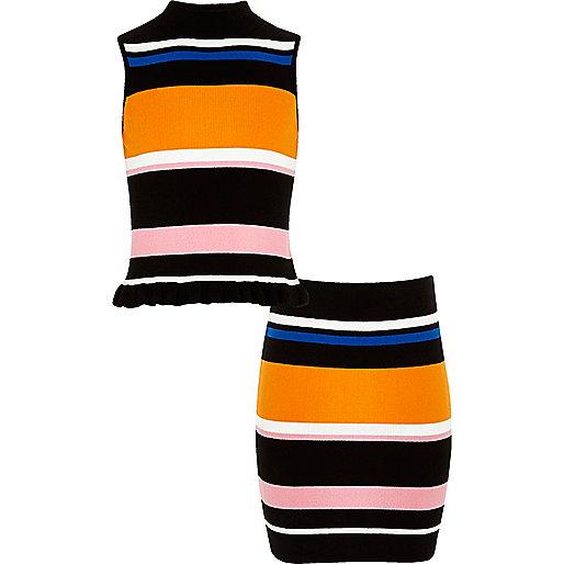 Girls black knit stripe top and skirt set