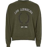 Girls khaki LA print sweatshirt