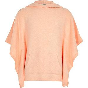 Girls coral super-soft poncho hoodie