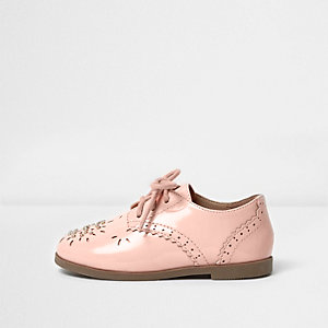 Mini girls coral laser cut brogues