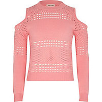 Girls pink pointelle cold shoulder sweater