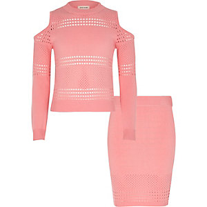 Girls pink pointelle knit top and skirt set