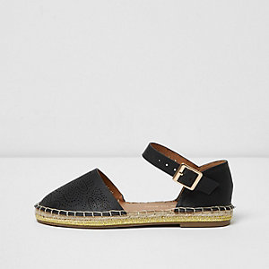 Girls black floral laser cut espadrilles