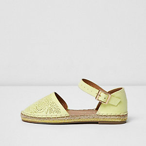 Girls yellow floral laser cut espadrilles