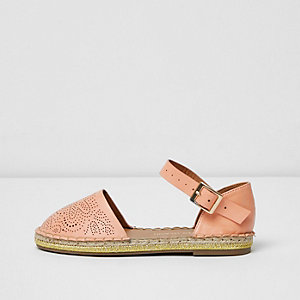 Girls pink floral espadrille shoe sandals