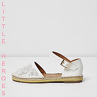 Girls white floral laser cut espadrilles