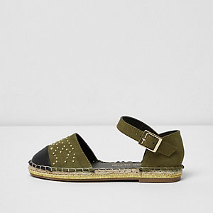 Girls khaki toe cap espadrille shoe sandals