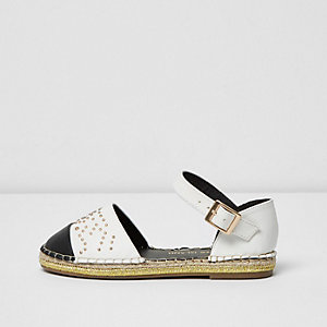 Girls white toe cap espadrille shoe sandals