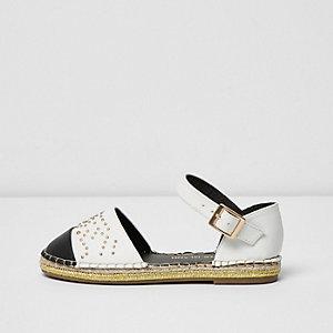 Sandales blanches à bout rapporté style espadrilles pour fille