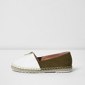 Girls khaki gold zip front espadrilles