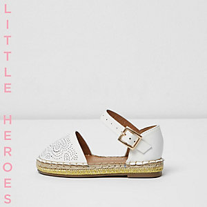 Mini girls white laser cut espadrilles