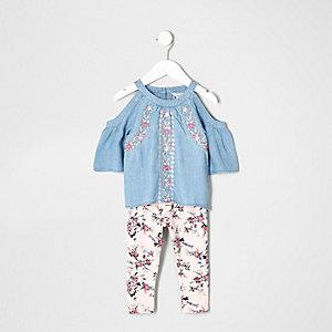 Mini girls denim floral cold shoulder outfit