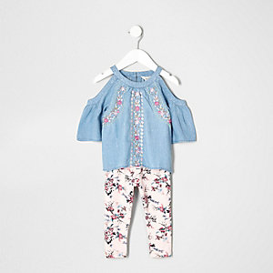 Mini girls denim floral cold shoulder outfit