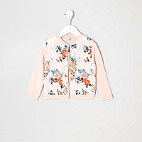 Mini girls pink floral pink zip up cardigan