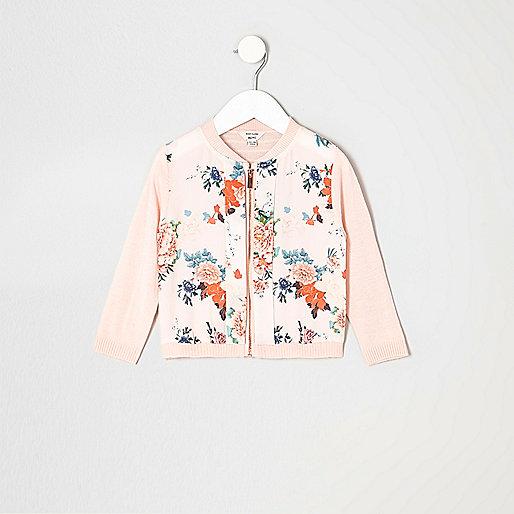 Mini girls pink floral pink zip up cardigan