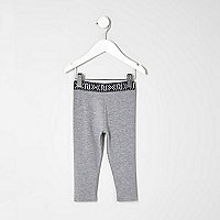 Mini girls grey branded leggings