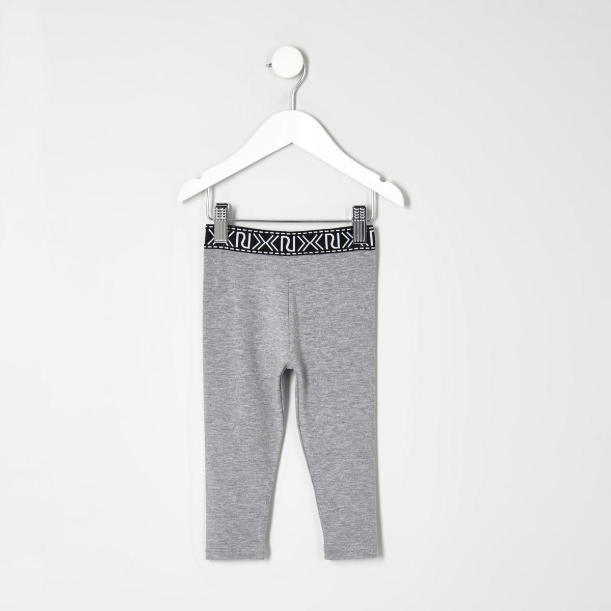 Mini girls grey branded leggings