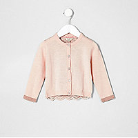Mini girls pink lace back cardigan