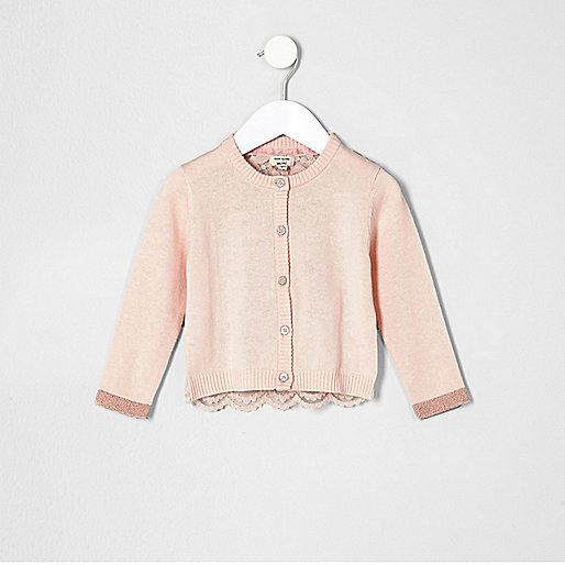 Mini girls pink lace back cardigan