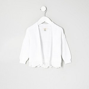Mini girls white knit lace hem cardigan