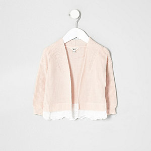 Mini girls pink knit lace hem cardigan
