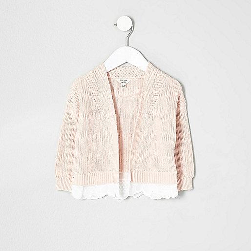 Mini girls pink knit lace hem cardigan