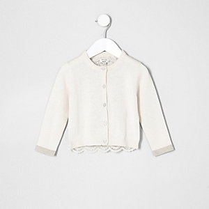 Mini girls cream lace back cardigan