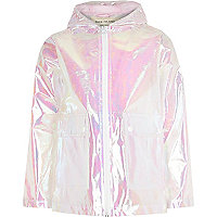 Girls white iridescent rain mac